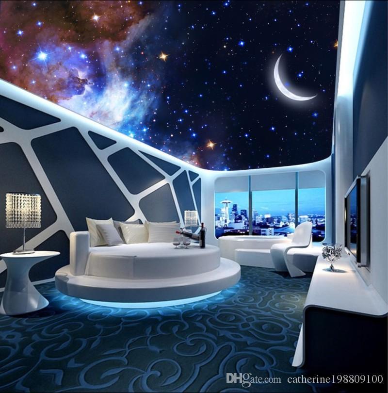 Foto personalizzata di qualsiasi dimensione Sognante luna stellata soffitti 3d 3d soffitto luna murales carta da parati