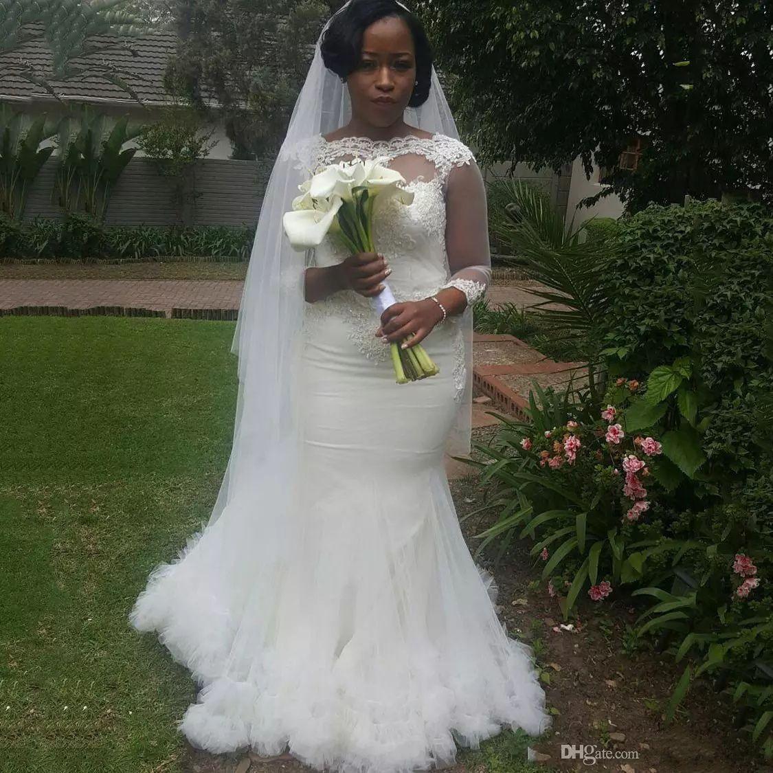 Abiti da sposa Sirena sudafricana Abiti da sposa Bateau Pizzo 3/4 maniche lunghe Plus Size Abiti da sposa Back Zipper Sweep Train Made Abiti da sposa