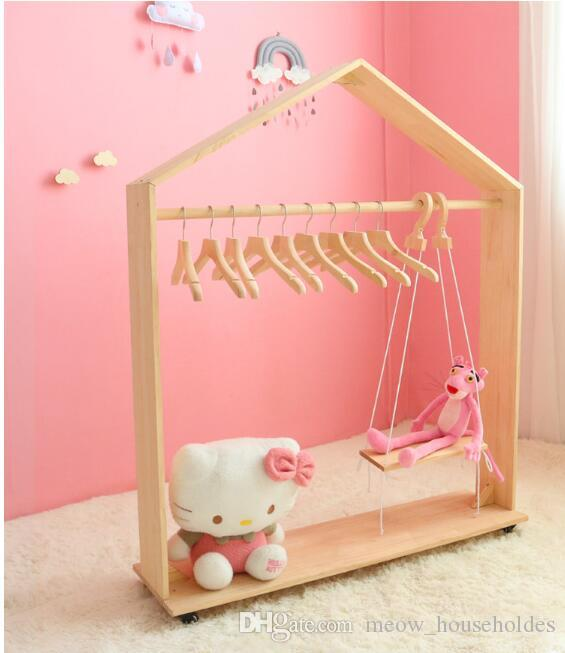 Floor roller rack Children's clothing store shelf display rack Movable small house hanger Ins Nordic Children's Ground Roller Rack