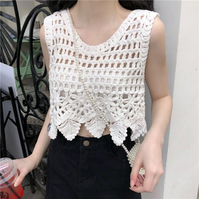 Bohe estate scava fuori Donne Serbatoi Top vacanze Donne Crochet Serbatoi Femme Crochet Camis