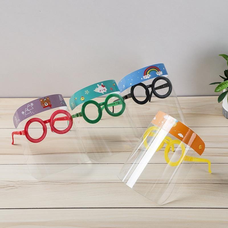 Designer Masks Children Cartoon Face Shield With Glasses PET Anti-fog Mask Prevent Full Protective Mask Party Mask Kid Gifts Clear Visor