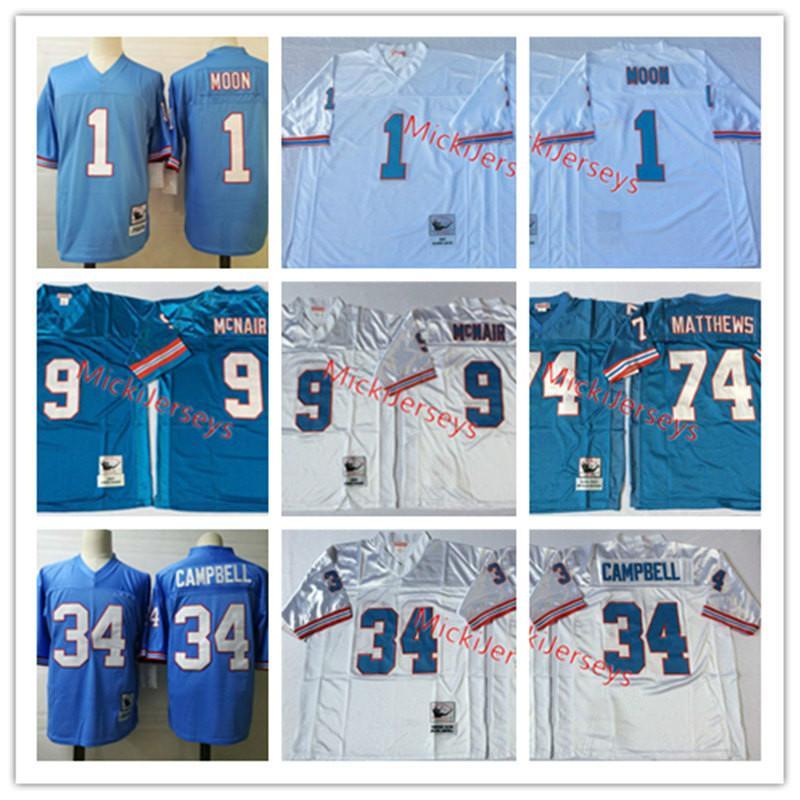 Erkek NCAA Oilers # 34 Earl Campbell Vintage Jersey Dikişli 9. Steve McNair # 74 Bruce Matthews 1. Warren Moon, Oilers Futbol Jersey M-3XL