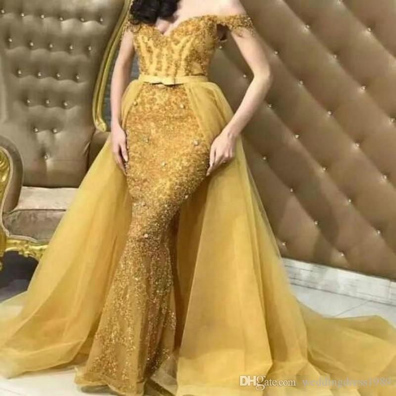 Yeni Altın Boncuk Kapalı Omuz Mermaid Abiye Overskirt Örgün Arbric 2019 Parti Gelinlik Modelleri Pageant Abiye Robe De Soiree