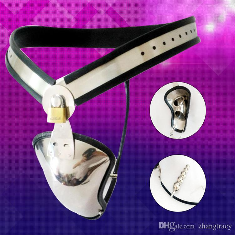 New Stainless Steel Adjustable Male Chastity Belt Plug Device