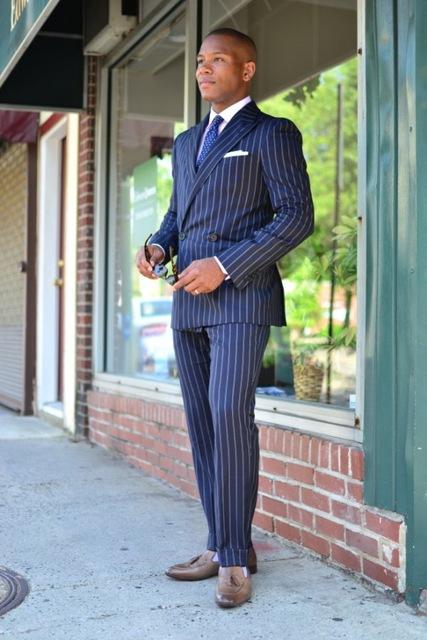 Navy Blue Stripe Double Breasted Wedding Men Suit 2 Pcs Terno Bespoke Fashion Slim Notch Lapel Blazer For Man(Jacket+Pant+Tie)