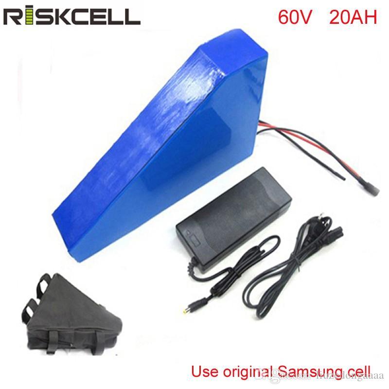Triângulo ebike bateria de lítio 60 v 20ah bateria de bicicleta elétrica 60 v 2000 w bateria de scooter elétrico para bicicleta Para samsung celular