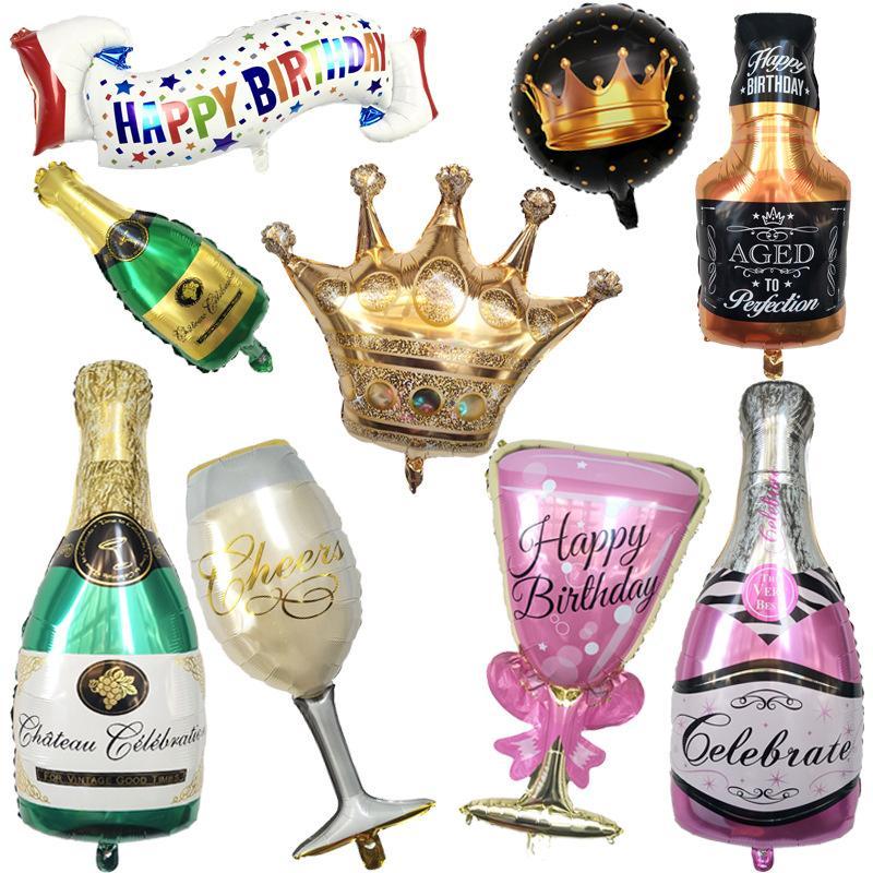 مهرجان الديكور زجاجة النبيذ الملونة النبيذ حزب زخرفة الزجاج بالون عيد ميلاد سعيد بالون حفل زفاف الديكور المنزلي