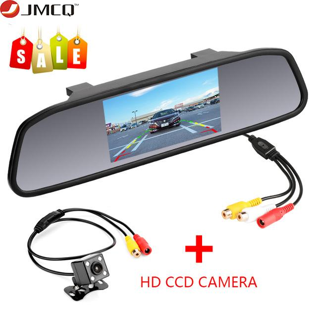 "JMCQ 4.3""Car Monitor White mirror glass TFT LCD Car Rear View monitor Parking Rearview System for Backup Reverse Cameras"