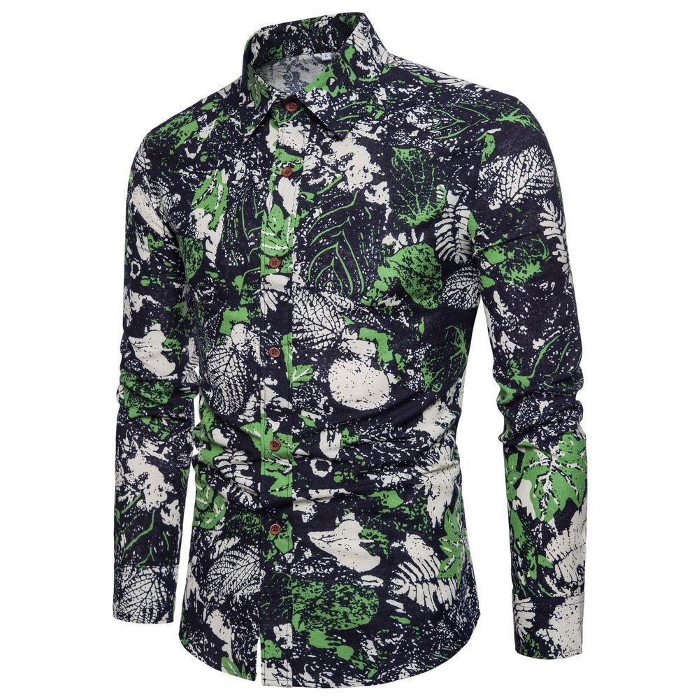 2018 القطن ربيع الخريف جديد الرجال الأزياء زهرة مطبوعة طويلة الأكمام قمصان الذكور سليم خمر عارضة قميص m- xxxl 4xl 5xl