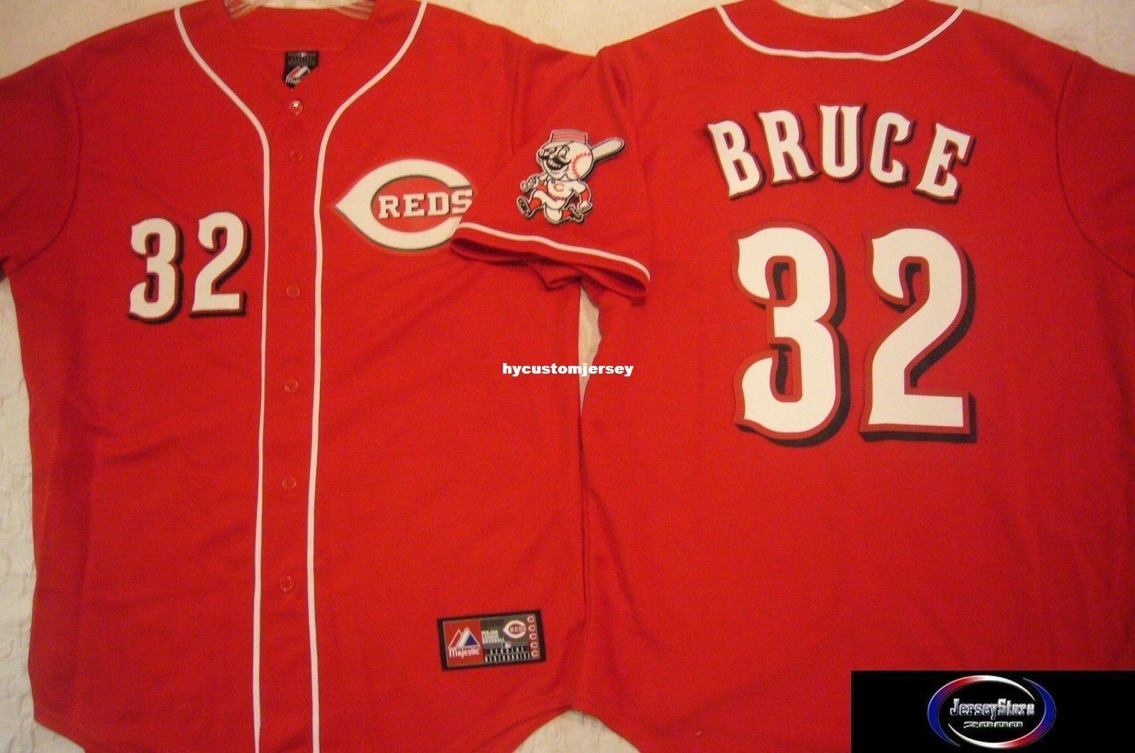 cheap custom MAJESTIC #32 JAY BRUCE SEWN Baseball Jersey W/RED LEG PATCH Mens stitched jerseys Big And Tall SIZE XS-6XL For sale