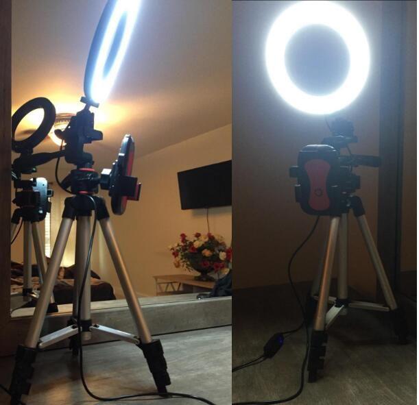 """6.2 """"حلقة الضوء مع حامل ترايبود للفيديو يوتيوب وماكياج، ميني LED ضوء الكاميرا مع حامل الهاتف الخليوي selfle الصورة كامارا الخفيفة"""