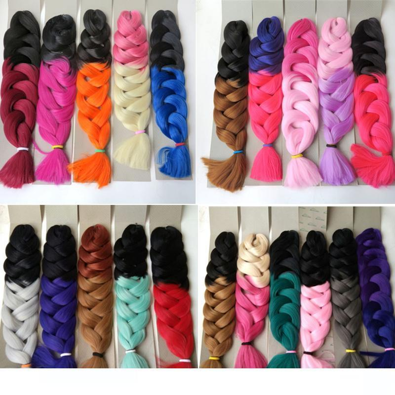 H Xpression Synthetic Braiding Hair 165g Folded 32inch Ombre Two Tone Color Kanekalon Jumbo Crochet Braid Twist Hair Extensions