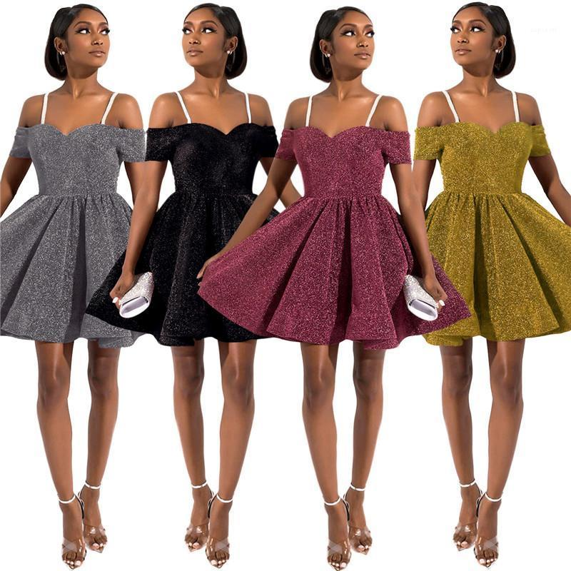 Partykleider Fashion Zipper Panelled Glitzernde Backless Frauen-Partei-Kleid Lässige Kleidung Frauen Sexy Gallus-Frauen