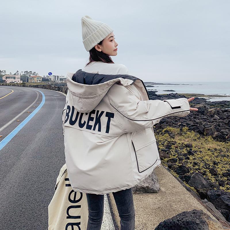 Moda Sonbahar Kısa Kadın Ceket Kış Kapşonlu Coat 2019 Yeni Kore Pamuk ceket Bayanlar Parkası ceketler Tide Gevşek yastıklı ceket
