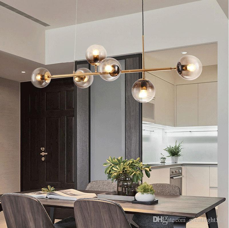 Bolha LS INS famosos Chandelier nórdicos Magic Bean Horizontal Vertical Pingente luz dourada luz de teto 4/6 Heads