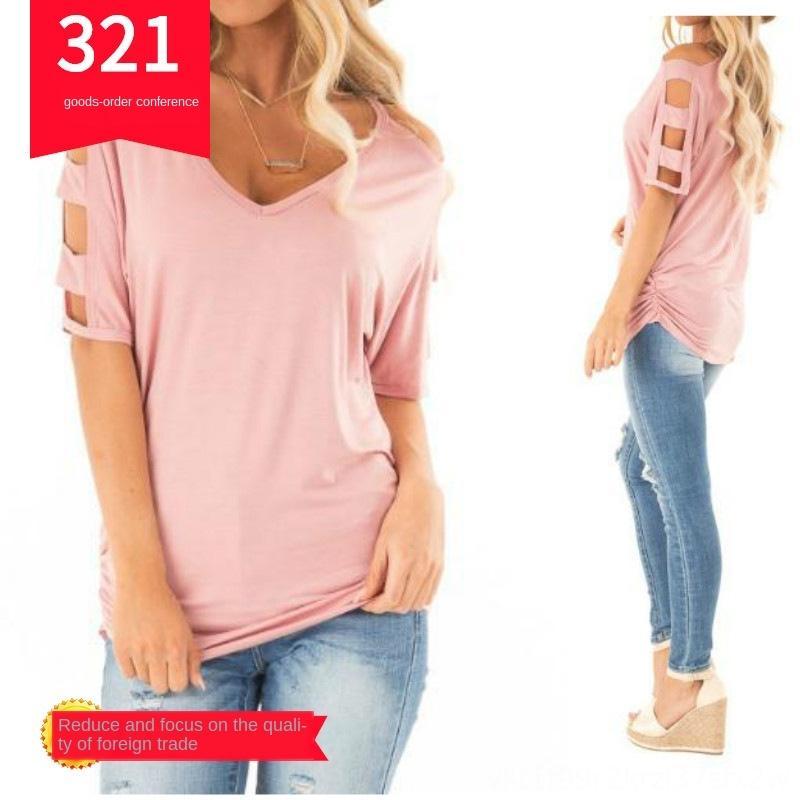 2019 yaz kadın V yaka kısa kollu düz renk 2019 yaz kadın V yaka kısa kollu düz renk gevşek pilili gevşek tişört pilili