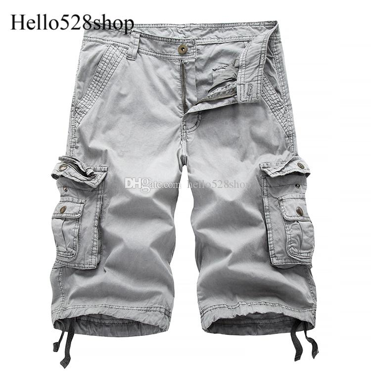 Hello528shop erkek Büyük Boy Takım Kargo Şort-Rahat Gevşek Çok cep Diz Boyu Kısa Pantolon Plaj Yaz