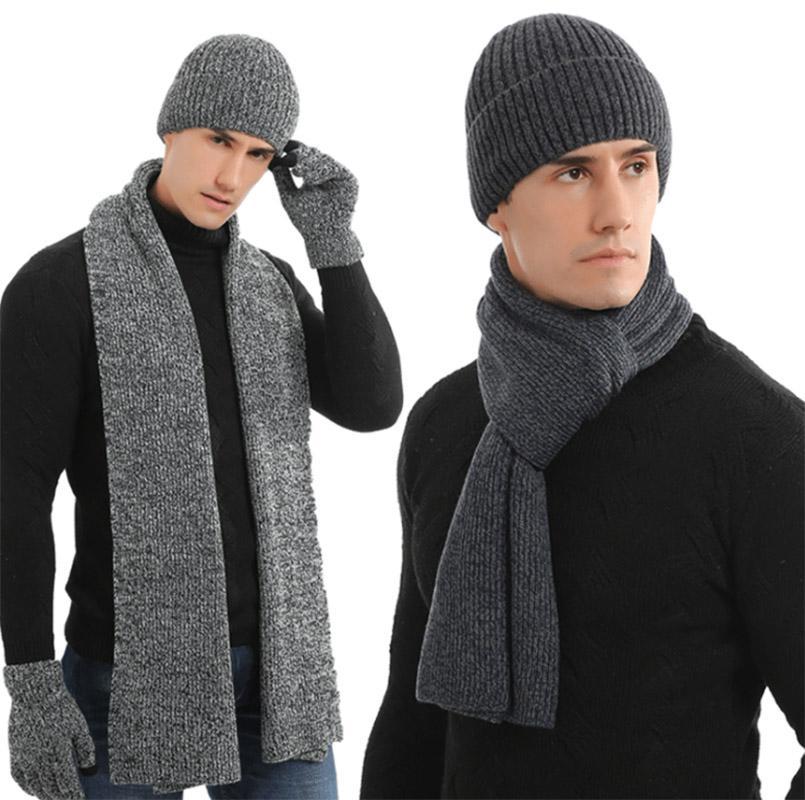 L'autunno e la moda caldo sport sciarpa paio degli uomini di inverno all'aperto guanti sciarpa cappello spessa maglia di lana in tre pezzi regalo vestito di compleanno