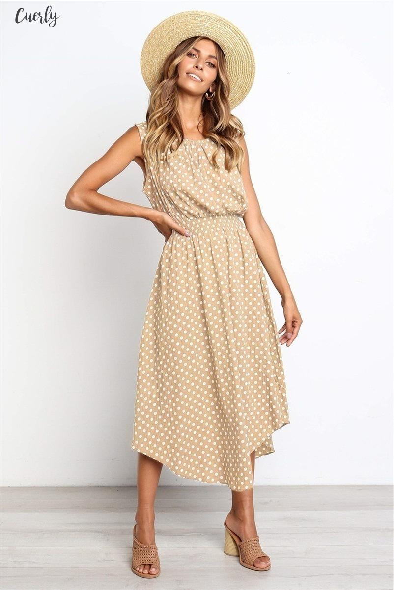 Punkt-Druck-Frauen-beiläufige Kleid Femal Fahsion-Rundhalsausschnitt Ärmel Mid Länge Kappen-Hülsen-Kleid-Dame Elegant Kleider