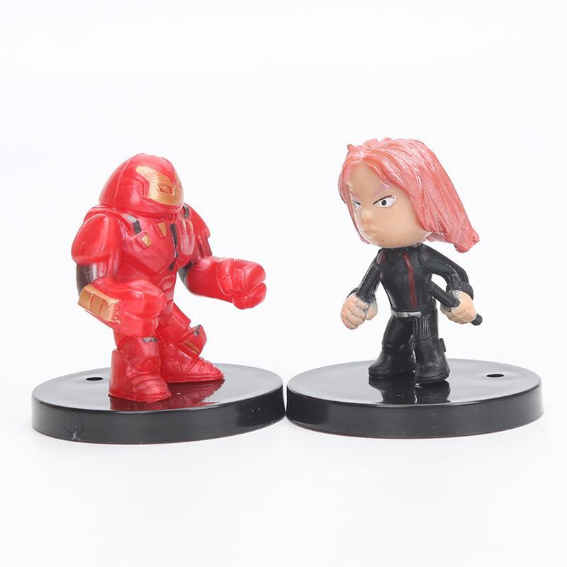 12pcs Q Version The Avengers Figure Set Marvel Toys 4-5cm Iron Man Thor Hulk Toy