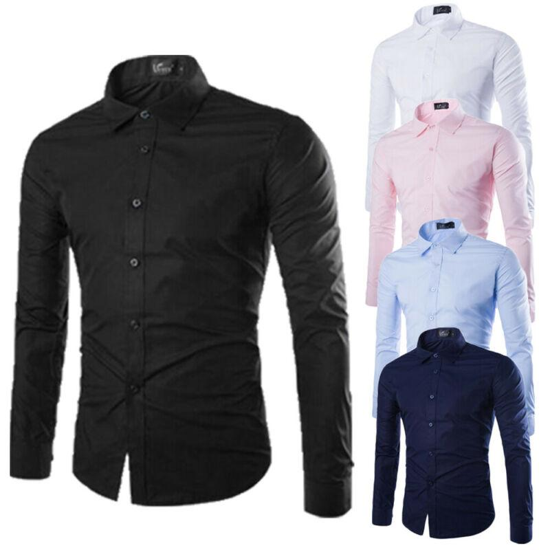 Hirigin Favoury Men's Long Slem Fit Formal Dress Shirt Solid Single Breased Shirt Work Button Down عادي M-3XL