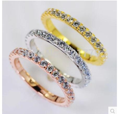 Fine Jewelry 0.72ct Sona Имитация Драгоценного Камня Бесконечность Серебряного Цвета Обручальные Кольца Для Женщин, сплошного Белого Золота Цвет Обручальные кольца, J190715