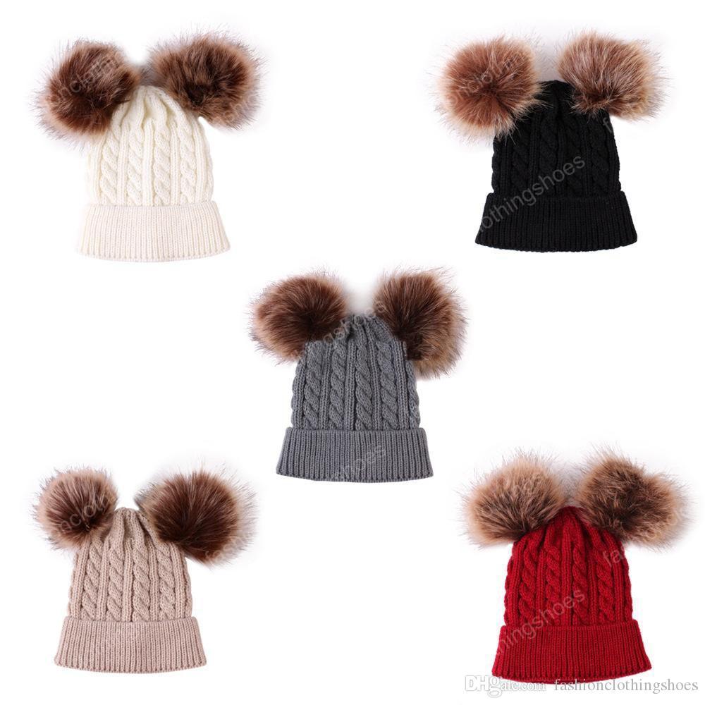 5 Colors Baby Knitted Hats Double Fur ball Pom Pom Beanies Twist Crochet Caps Winter Warm Infant Kids Boys Girls Cap