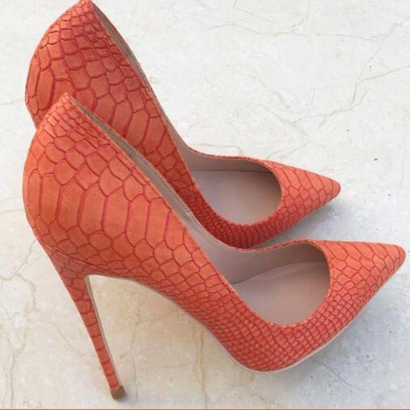 Della moda di New punta arancione con tacco squisito disegno del serpente eleganti scarpe singole 12cm tacco alto scarpe partito delle signore pompa