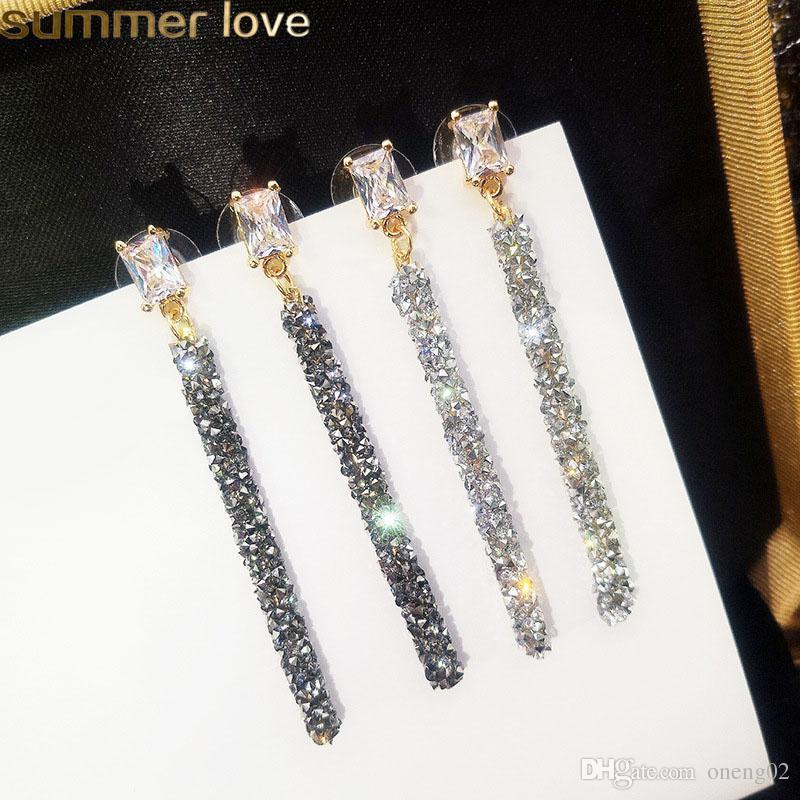 New Fashion Long Dangle Crystal Earrings For Woman Metal Classic Geometric Zircon Drop Earrings Korean Style Wedding Party Jewelry 2019