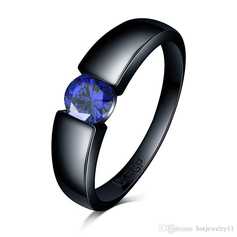 Очаровательный камень кольцо роза синий желтый ZIRCON женщины мужчины свадебные украшения из черного золота заполнены обручальные кольца bague Femme