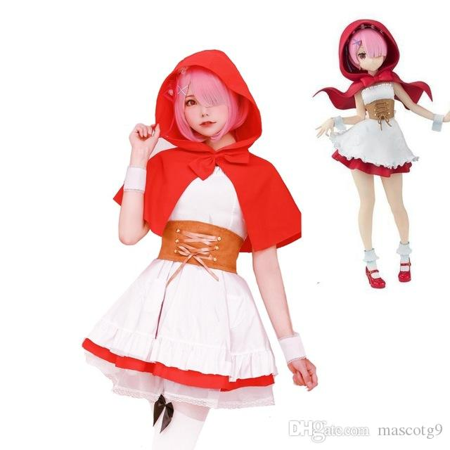 Anime Re: Life a Different World from Zero Ram Rem Little Red Riding Hood Full Set Halloween cosplay costume for women
