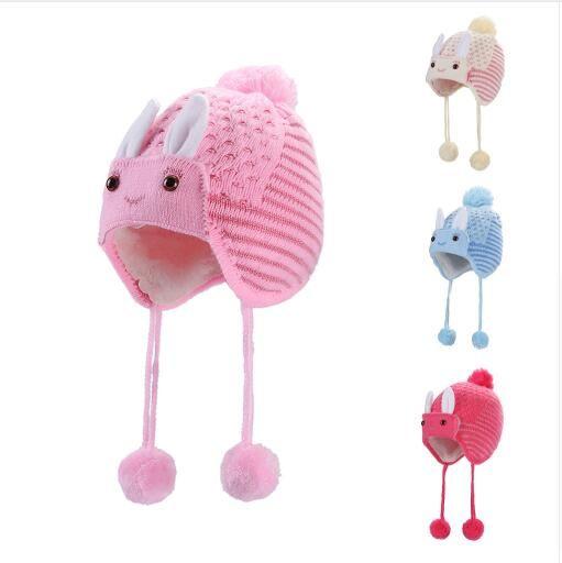New Designed Cute Baby hat Children Baggy Warm Crochet Winter Hats Wool Knit Ski Beanie Skull Slouchy Caps Children's Hats 1030