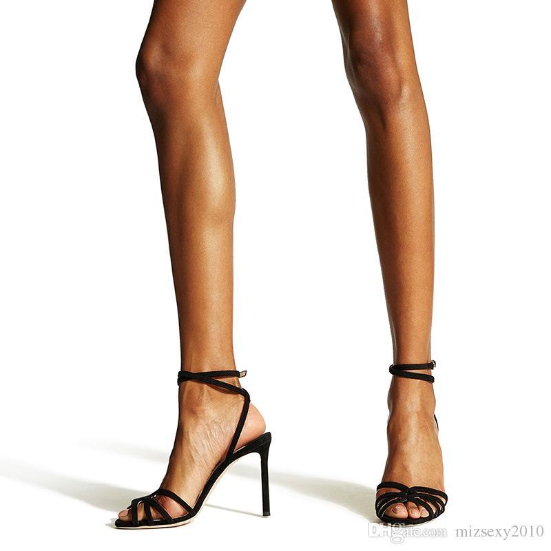 designer chaussures 2019 nouvelle mode sandales peep toes sexy gladiateur sangle talon aiguille sandales chics talons hauts femmes chaussures de soirée dames été