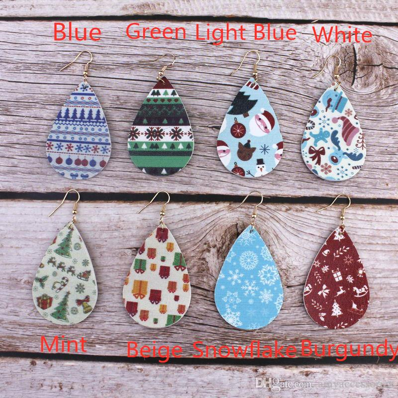 Christmas Holiday Theme Pu Leather Teardrop Hook Earrings for Women Print Snowflake Leather Dangle Earrings for Women costum Jewelry Gifts