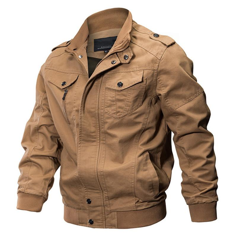 Jacket Spring Autumn Men Cotton Bomber coat mens Army Pilot jacket Male Epaulette zipper outerwear  clothing 6XL