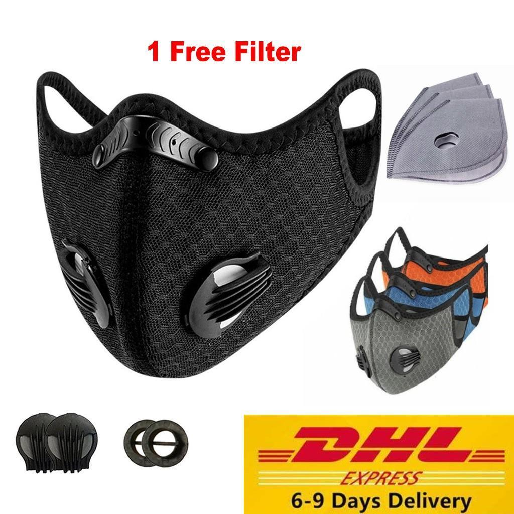 US Stock Sports Cycling Face Mask With Filters PM2.5 Anti-Dust Anti-Pollution Mask Activated Carbon Filter Effect >95% MTB Bike Cycling Face
