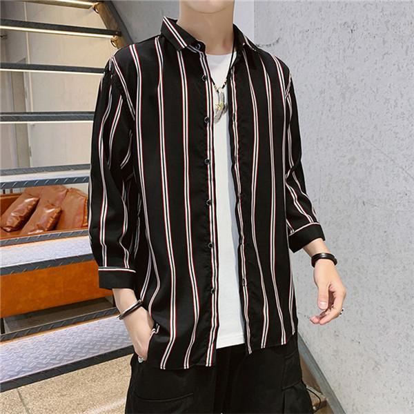Mens camisas de rayas verano ocasional 3/4 camisas de los hombres de la solapa del cuello más el tamaño de vestir de las tapas hombre 4XL