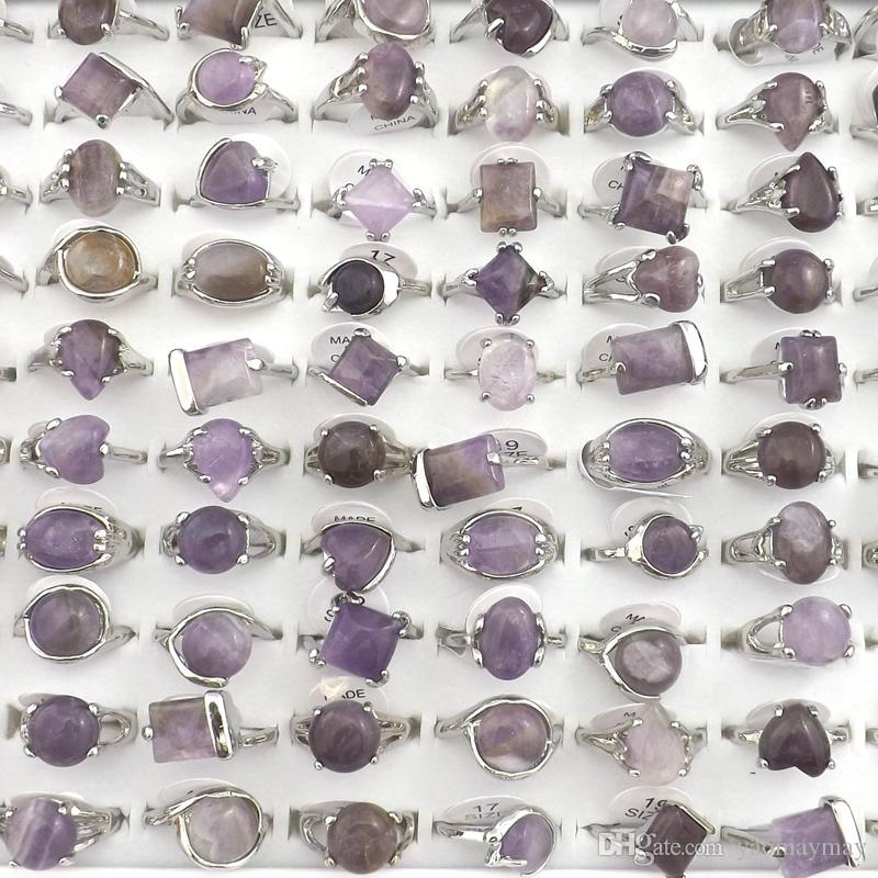 Anillos de piedra de amatista natural Joyas de piedras preciosas Anillo de mujer Bague 50pcs Regalo de San Valentín