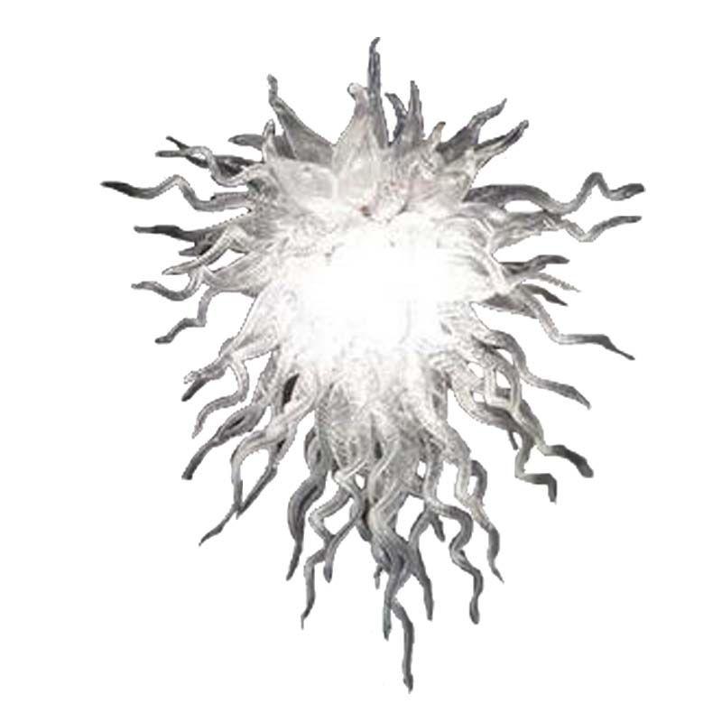 Blown candelabro de cristal de iluminação Hot Sale Pure White Mão de vidro cor New Style andar montado Fixação