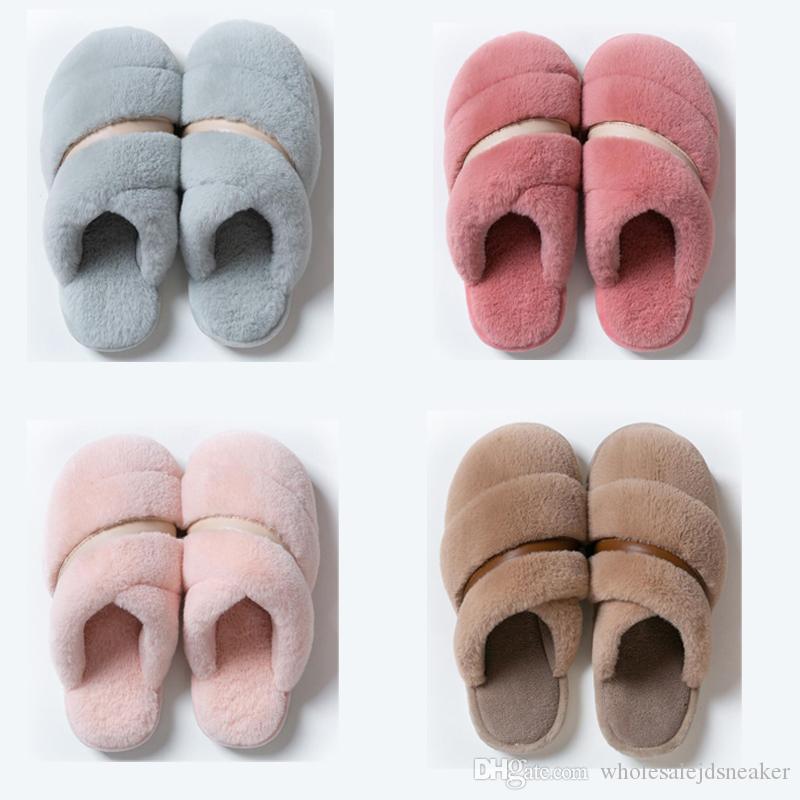 Hot femmes non Marque d'hiver hommes Slipper Sandales de fourrure intérieure Gardez chaussures chaudes Accueil caoutchouc plat Chaussons 37-45 Style de 8 Rose Marron Bleu