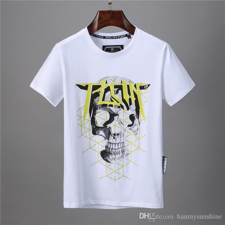 Los nuevos hombres camiseta de manga corta de algodón de los cráneos impresiones camiseta cuello redondo delgado T hombre de la manera suéter Skateboarding Tops 100% algodón P88019