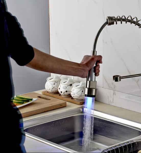 2019 LED Color Changes Nickel Brushed Faucet Spout Kitchen Faucet  Replacement Sprayer From Lv006, $60.26   DHgate.Com