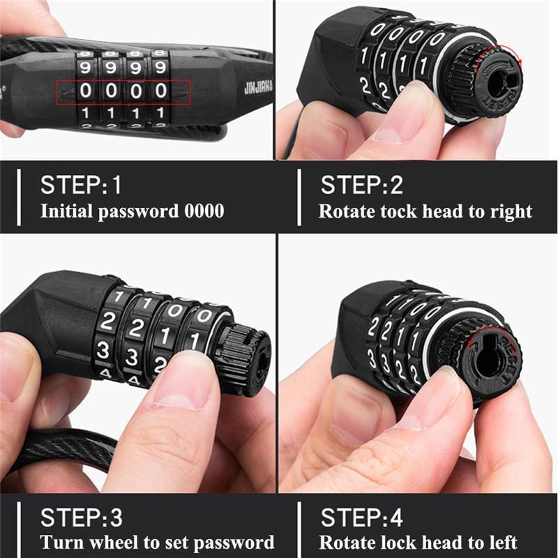 BPractical Scooter électrique Fournitures Anti-vol de haute qualité fil d'acier Password Lock Quatre Padlock Pour Xiaomi M365 Scooters