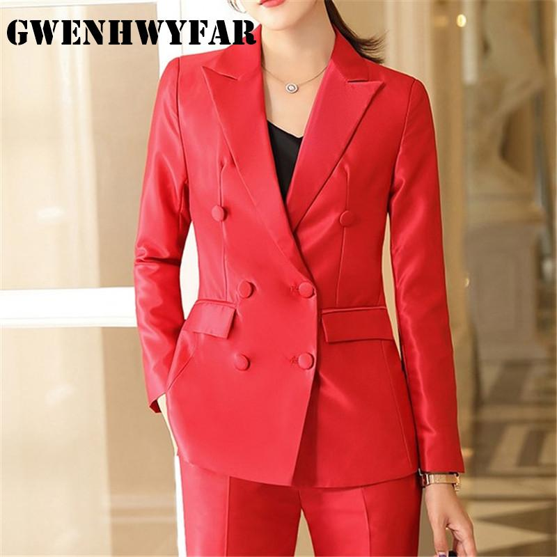 GWENHWYFAR 2020 New 2 Pieces set Female Career Suit Shinny Fabric Long-sleeved Women suit in Black Grey Red (jacket+trousers)