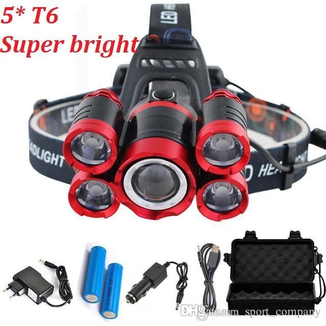 15000 Lumens 5 LEDs T6 phares 4 modes Zoomable LEDs rechargeables Lampe de poche Tête + 2 * 18650 batterie + AC / DC Chargeur + BOX