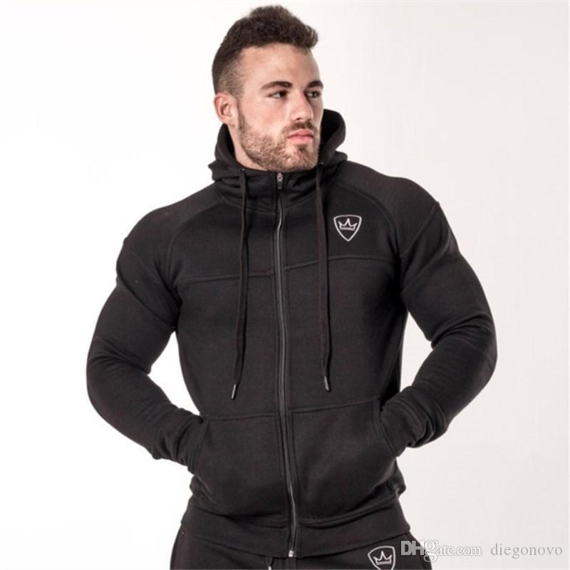 2019 otoño invierno nueva Mens cremallera gruesa Moda Hoodies gimnasios de fitness culturismo masculino ocasional hombres de ropa deportiva ropa de algodón del basculador