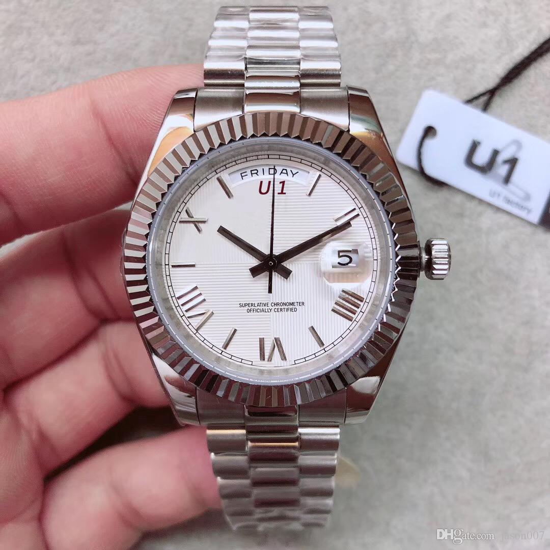 40mm Beyaz Arama Başkan Erkek Saat Dayanıklı Scratch Safir Kristal Saatler Otomatik Mekanik Romen Sayısı Saat Işaretleyici Saatı