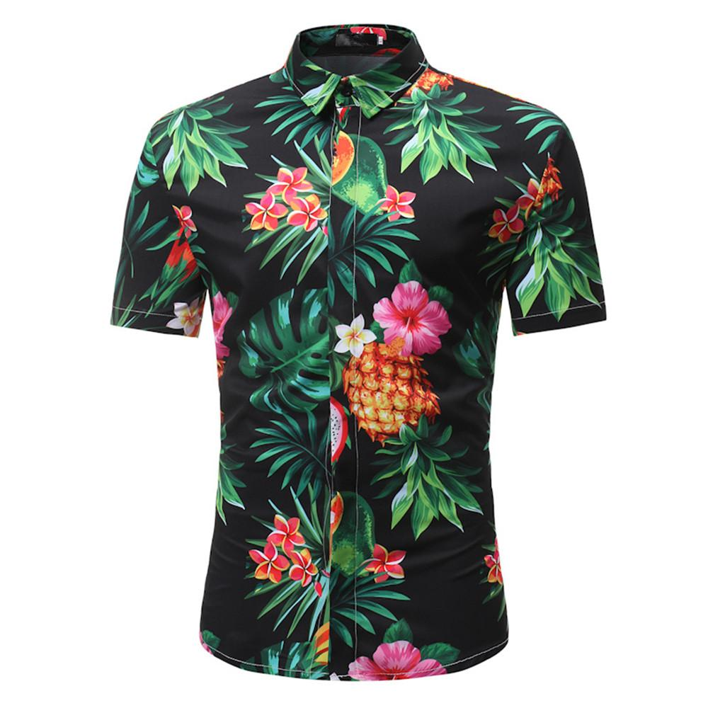 Mens Hip Hop Fruits Shirt Handsome Boy Summer Casual Blusa Male Dinner Party Clothing Pineapple Printed Tops Fashion Covered Button