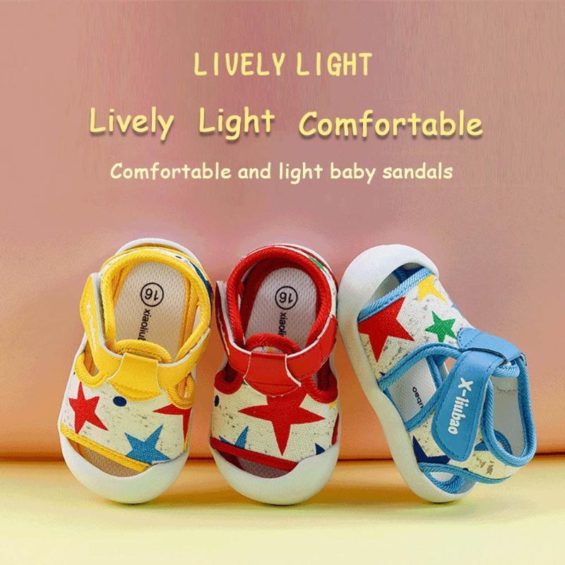 Baby-Schuhe Sommer Kleinkind Prewalker Start Druck höhlen heraus Schuhe Säuglingsbaby-weiche Sohle Applikationen Einzel