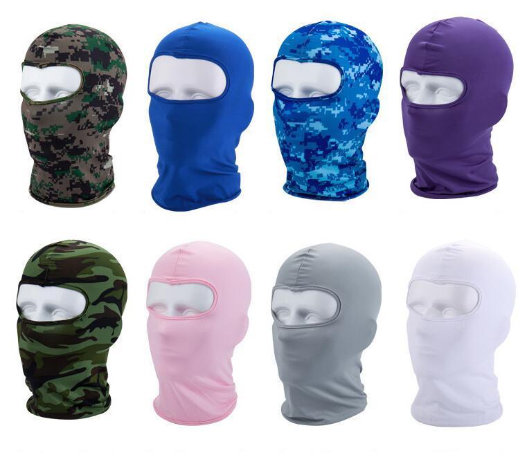 Açık Tam Yüz Maskesi Caps Binme Kafatası Hood Katı Çok Renkli UV Koruyucu kap Hat Aktif CS Açık Kamuflaj Spor Motosiklet Maskeleri
